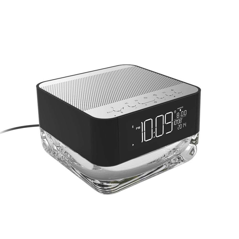 ФОТО CrystalSoul Wireless Bluetooth Speaker with Rhythm Colorful Light Alarm Clock Radio TF Card Player Remote Control Lamp Subwoofer