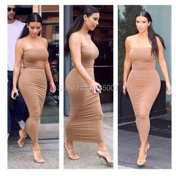 Kim Kardashian Dress Strapless Sheath Fitted Slim