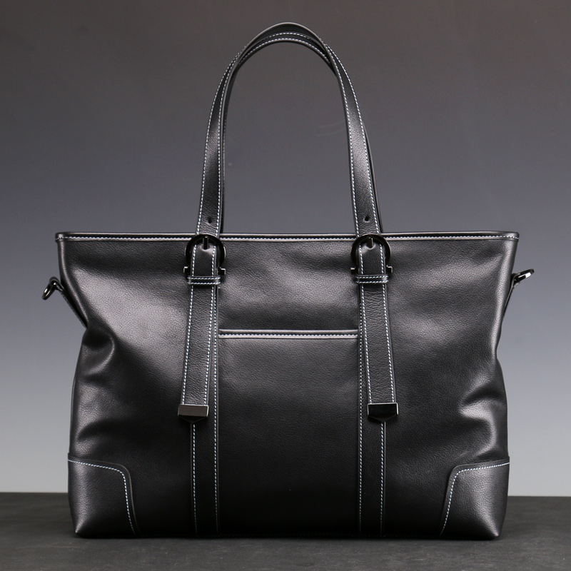 Black Full-grain Cowhide Men Bags Genuine Leather Messenger Bags Businessman Briefcases Soft Crossbody & Shoulder Bags (XW80801)