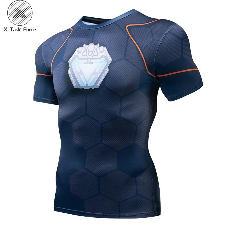 Avengers 3 Raglan Sleeve Compression Shirts Iron Man 3D Printed T shirt Men 2018