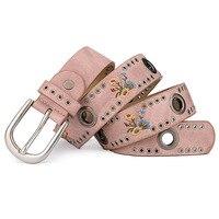 2018 women belt red for jeans wide women belt vintage buckle waist belts for women printing flowers strap women belt H6