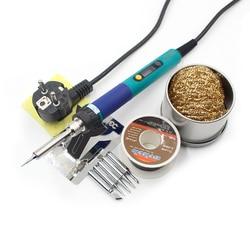 Электрический паяльник CXG 936d, 110 В, 220 В, 60 Вт, сварочный комплект с вилкой европейского и американского стандарта, ЖК-дисплей, регулируемая те...