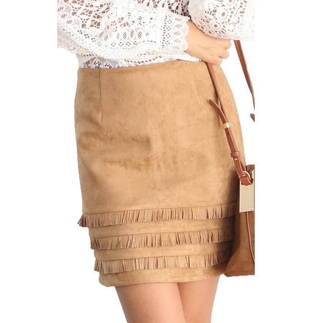 Aliexpress.com : Buy Tassel Suede Leather Skirt Women High Waist ...