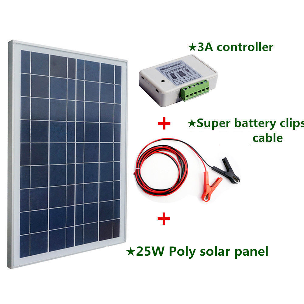 Solar System with Poly 25W 12v Solar Panel  2m Extension Cable with Battery Clips Solar Generators 100w 12v monocrystalline solar panel for 12v battery rv boat car home solar power