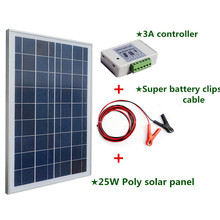 Solar System with Poly 25W 12v Solar Panel  2m Extension Cable with Battery Clips Solar Generators