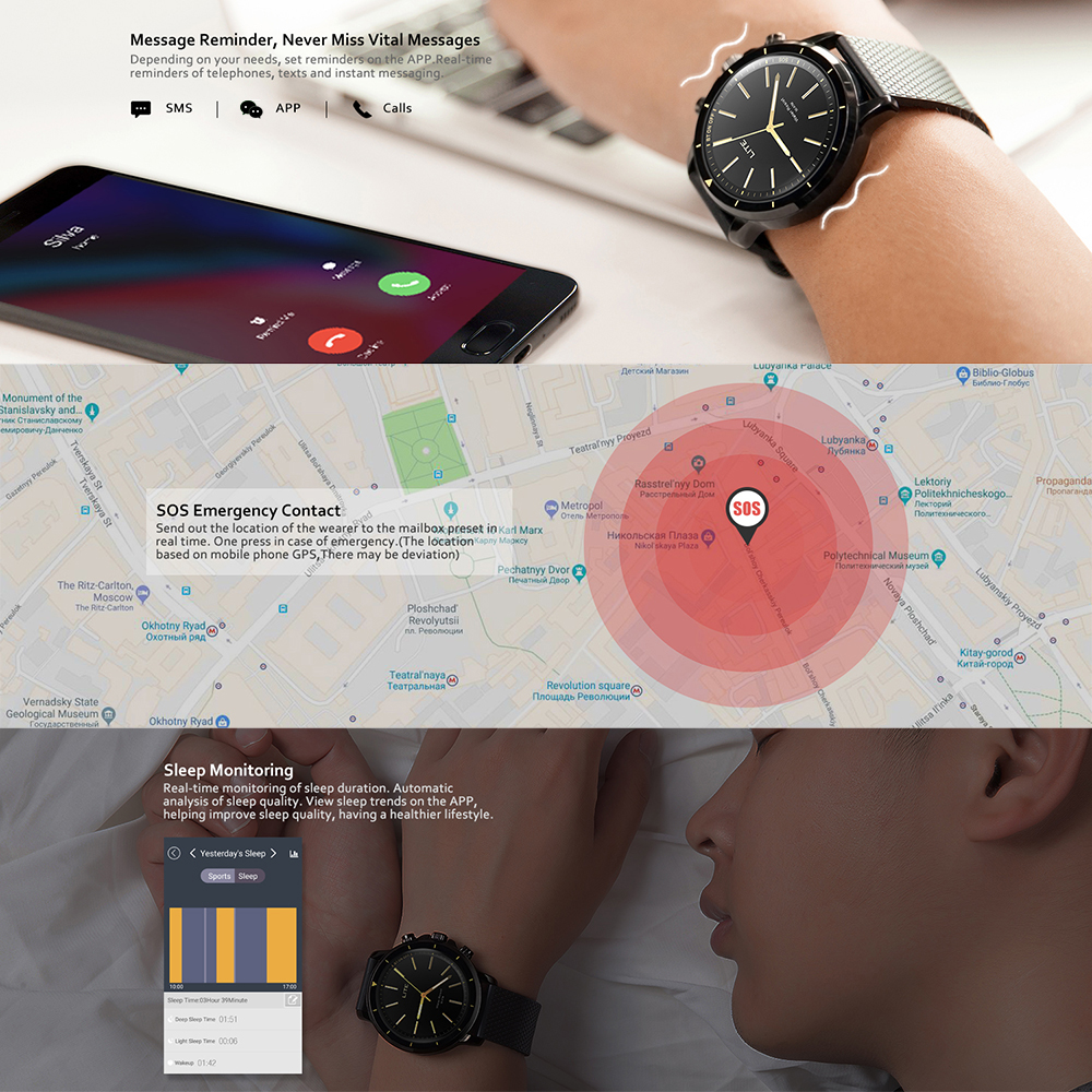 New Zeblaze VIBE LITE 5ATM Waterproof SOS Smartwatch 24-month Standby Time All-Weather Monitoring For IOS And Android Watch Men - smart-warch, men