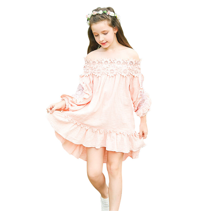 Pink Lace Princess Dress 5 6 7 8 9 10 11 12 13 14 Year Old Girl Kids Fall Long Sleeve Party Dresses for Teenagers 100% Cotton girl dress autumn white long sleeved clothes korean cotton size 4 5 6 7 8 9 10 11 12 13 14 years kids blue lace princess dress