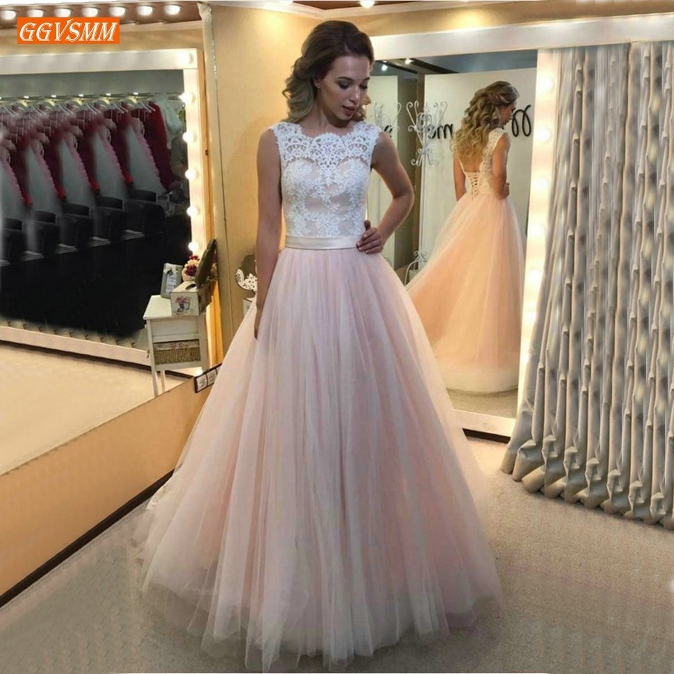 Charming Pink Tulle A Lin Wedding Dress 2019 Boho Slim Fit Wedding Gowns Customized Ivory Lace