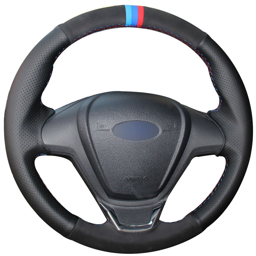 Black Natural Leather Black Suede Light Blue Blue Red Marker Steering Wheel Cover for Ford Fiesta