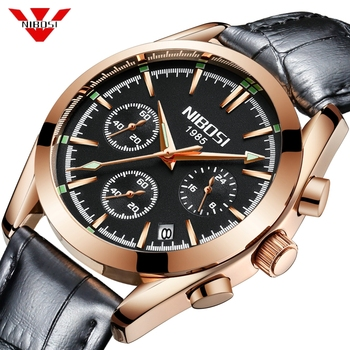 Reloj de pulsera de cuarzo de lujo de marca superior para Hombre, Reloj de pulsera de cuero para Hombre
