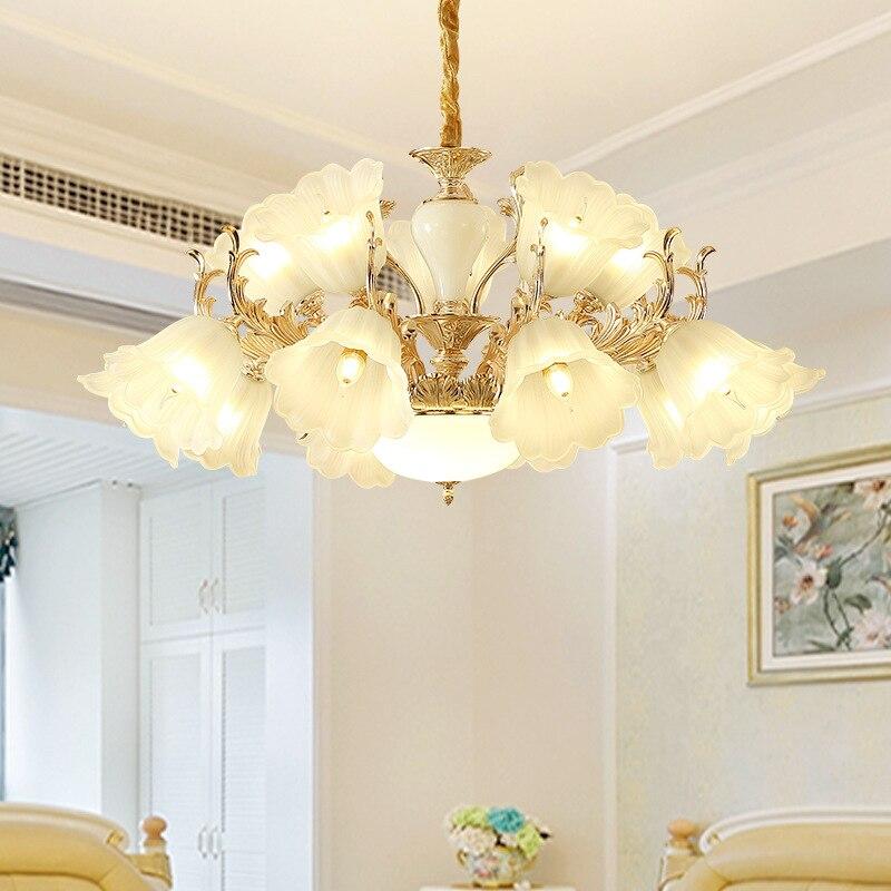 Moderne européen fantaisie en alliage de LED lampe de Restaurant lumière de mode élégant hôtel Hall LED abat-jour en verre suspension
