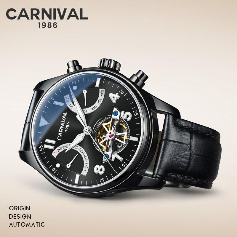 Super Nuovo Modello GUANQIN Originale Tourbillon degli uomini di affari della vigilanza superiore di marca di lusso di Scheletro Zaffiro orologio uomo Relogio Masculino - 4