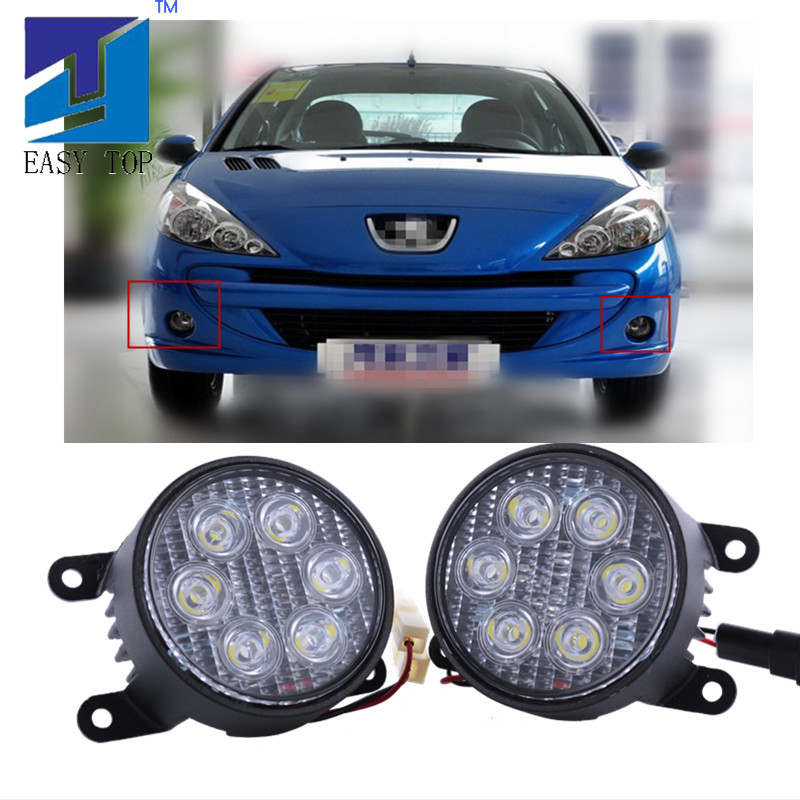 18W Round <font><b>LED</b></font> Fog <font><b>Light</b></font> For <font><b>PEUGEOT</b></font> 207 207CC <font><b>PEUGEOT</b></font> 307 <font><b>308</b></font> image