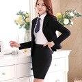Mulheres estilo uniforme de escritório designs Lady mini saia terno elegante terno de negócio fêmea 3 Peças Conjuntos de trabalho formais Calças Blazer