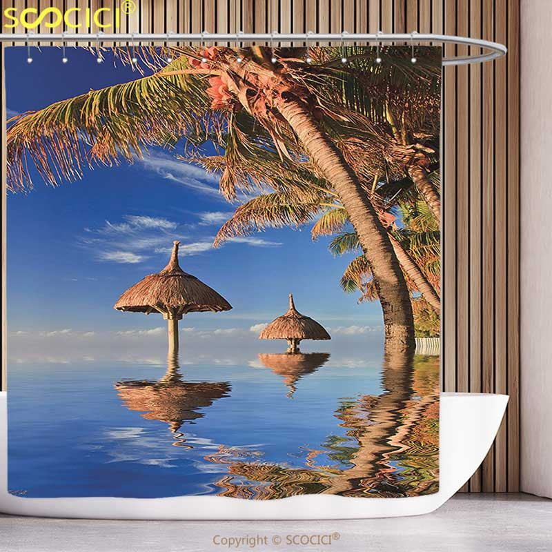 Polyester Shower Curtain Apartment Decor Tropic Palm Trees