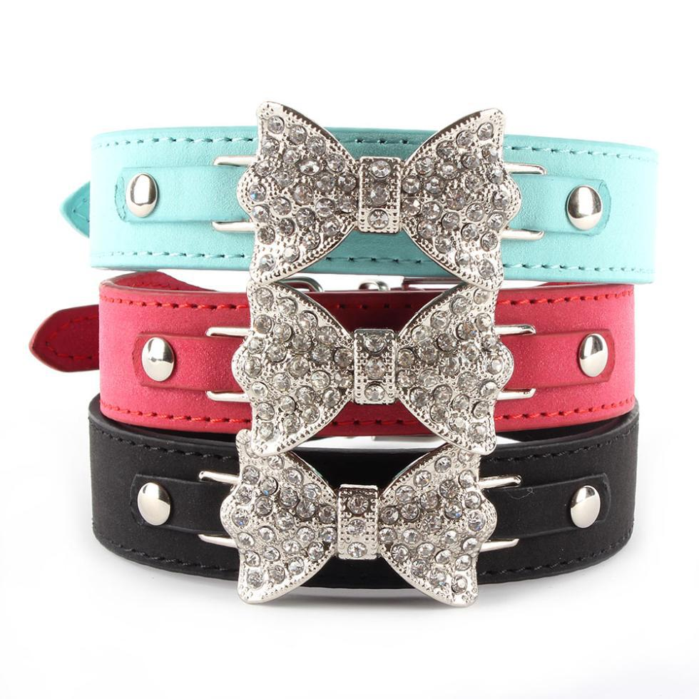 Blue/Red/Black Dog Collar Bling Crystal Bow Leather Pet Collar Puppy Choker Cat Necklace XS S M Drop Shipping