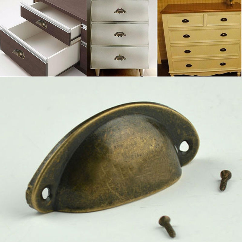 jetting 12pcs hot sale kitchen cupboard door cabinet cup drawer furniture antique shell pull handle bronze