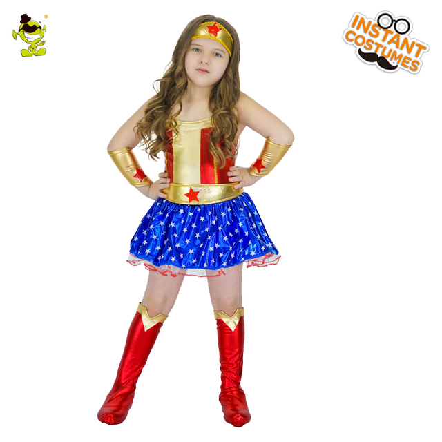 Girls Captain America Costumes Lovely Kids Star Printed Superhero Dress  Carnival Masquerade Party Brave Hero Cosplay Clothing