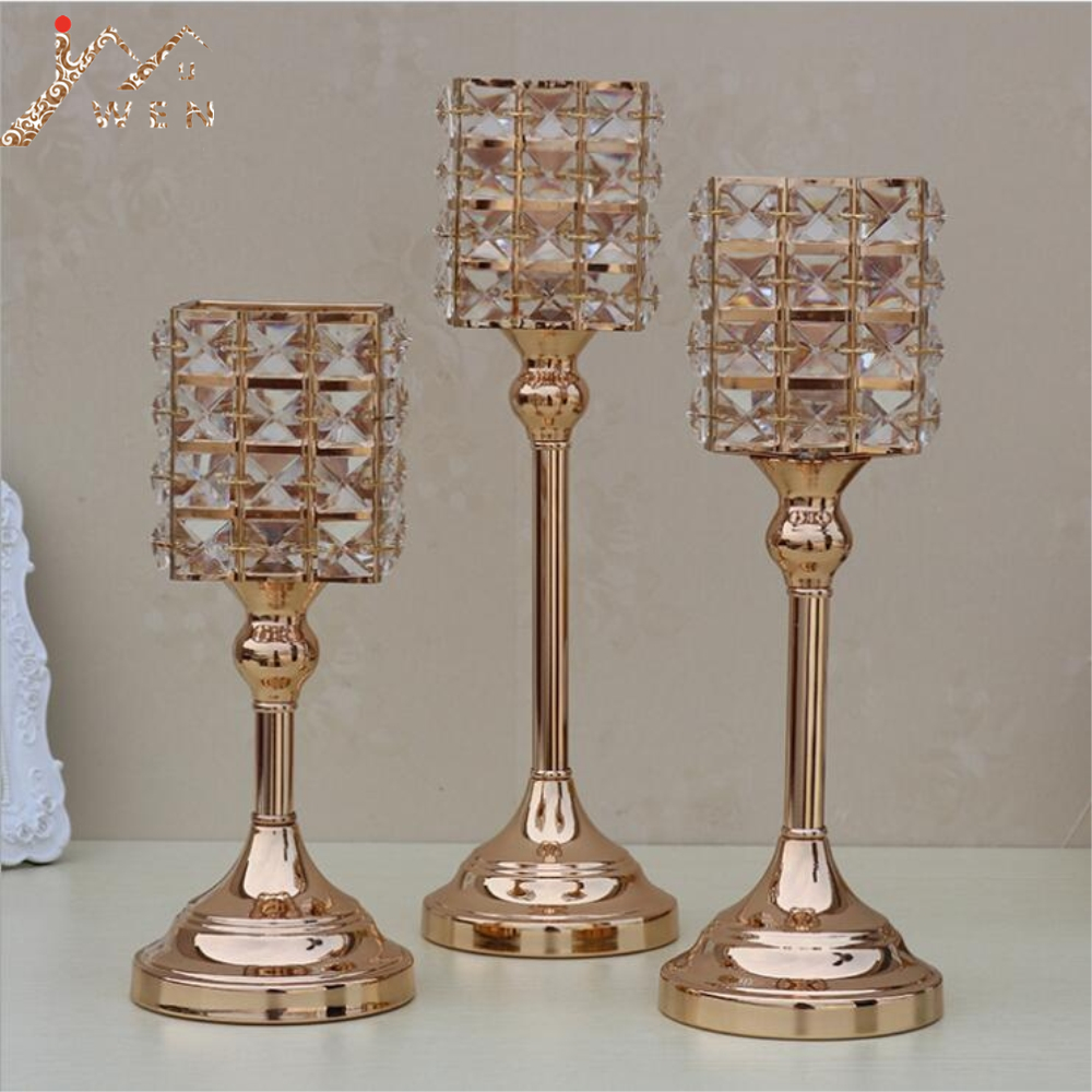 Gold Crystal Candle Holders Luxurious Event Candlesticks Party Candle Stand Centerpiece Candelabra Wedding Decor 1 Set= 3 pcs