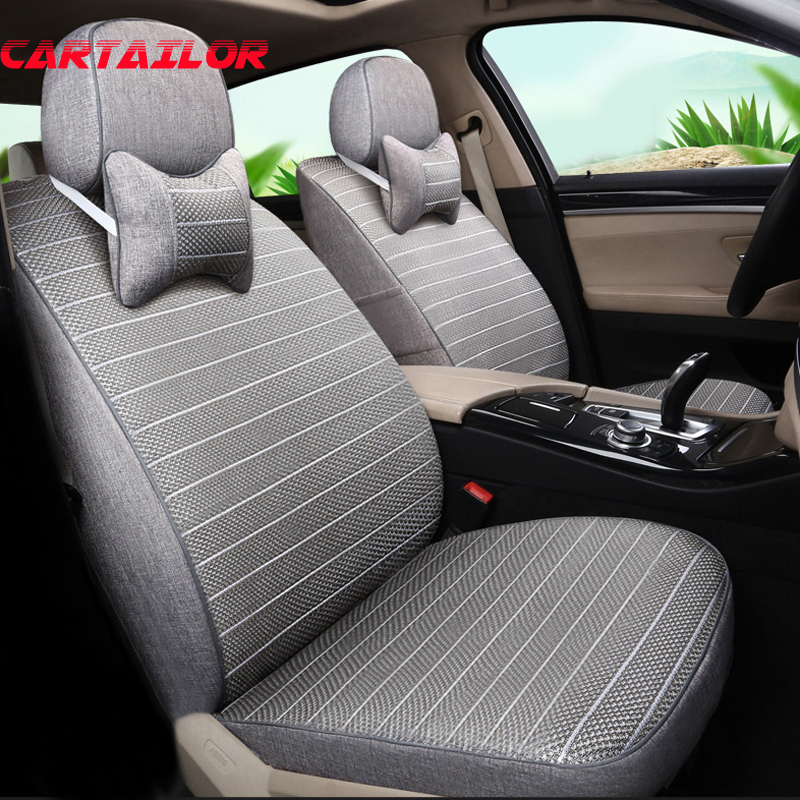 CARTAILOR Car Seat Cover Set Linen Cloth & Ice Silk Car Seats for Cadillac Escalade Cover Car Seat Covers Cars Seat Protectors