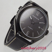43mm PARNIS Black Dial Polygon PVD Coated Sapphire Glass Date gifts Leather strap Miyota 821A Automatic Movement men's Watch цена и фото