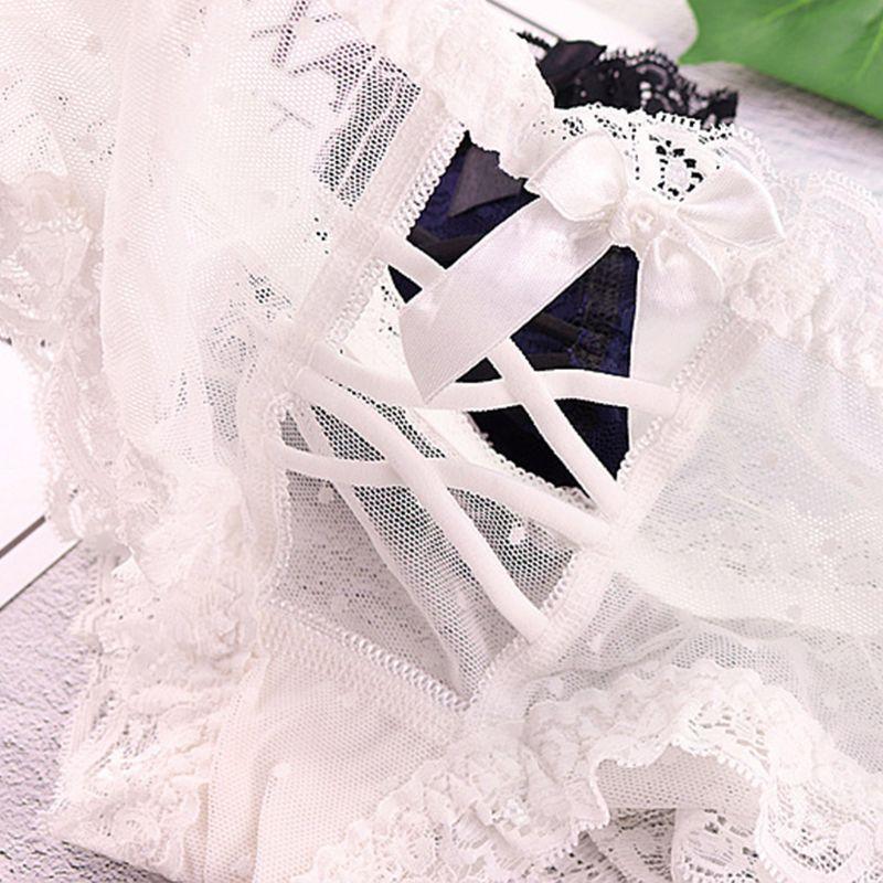 Womens Erotic Hollow Out Cross Bandage Underwear Lingerie Sheer Mesh Eyelash Lace Trim Panties Thongs Bowknot Briefs 10 Colors in women 39 s panties from Underwear amp Sleepwears