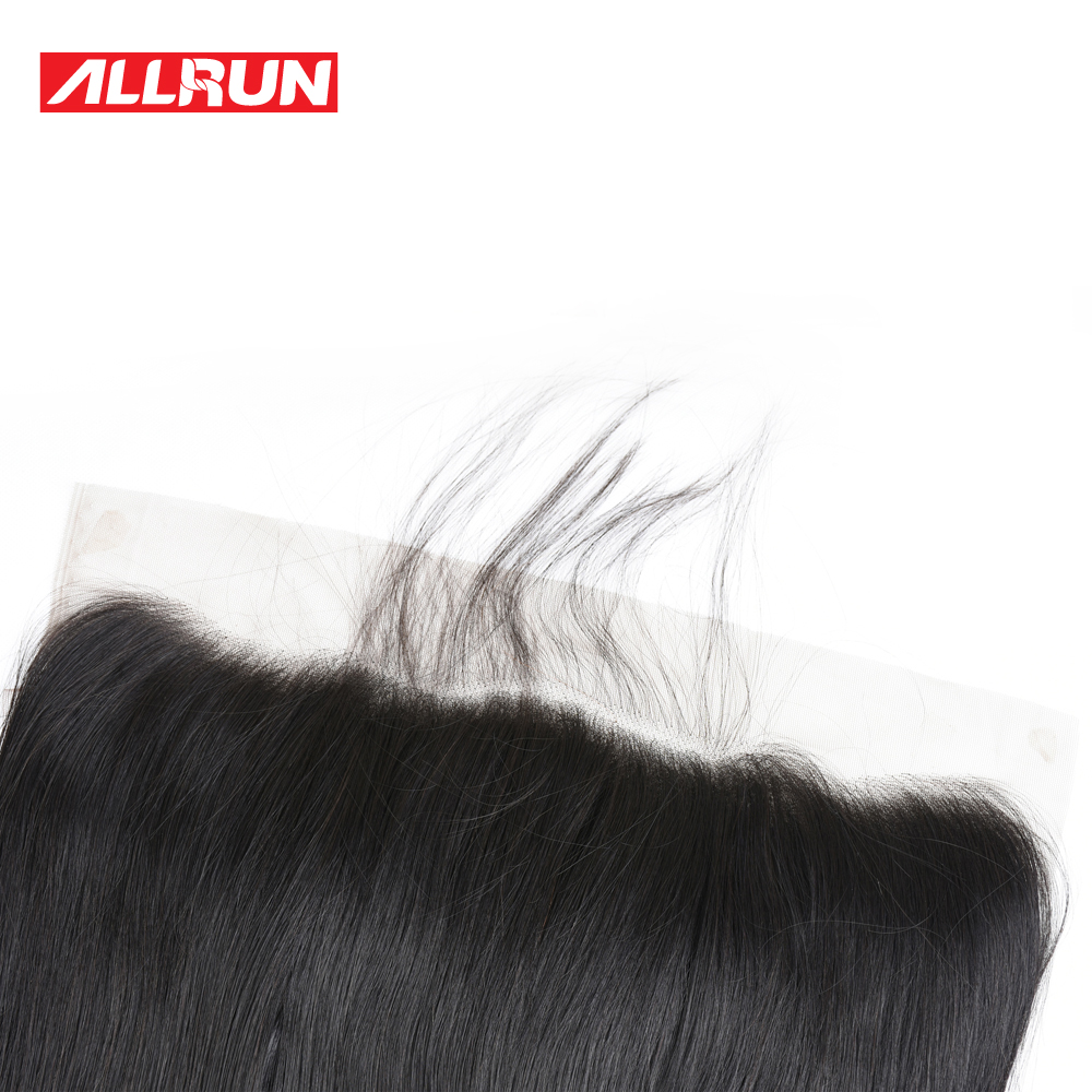Allrun Burmese Straight Hair 3 Bundles With 13*4 Lace Frontal 8-28inch 100% Non-Remy Human Hair Free Shipping Hair Extensions