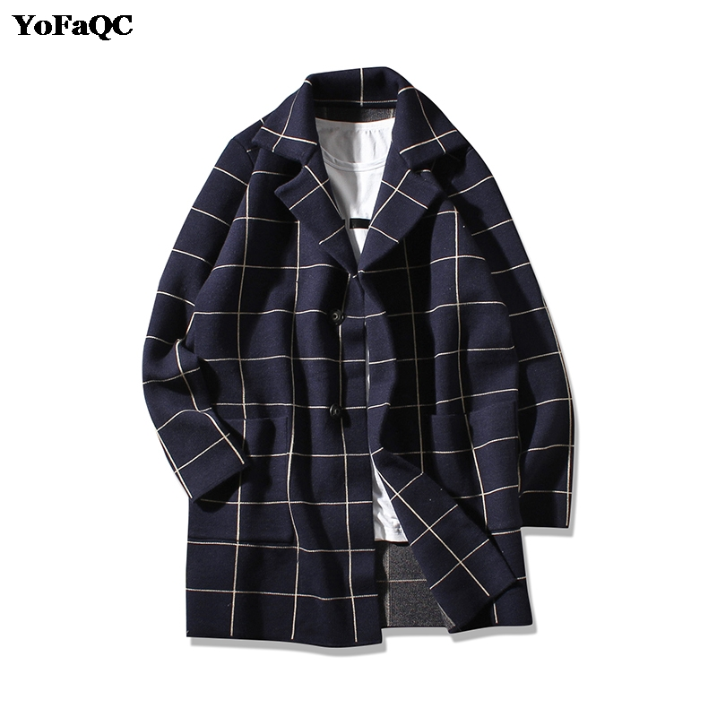 Unique YoFaQC 2018 New Fashion KoreanStyle Mens Trench Coat Slim Fit  SH59