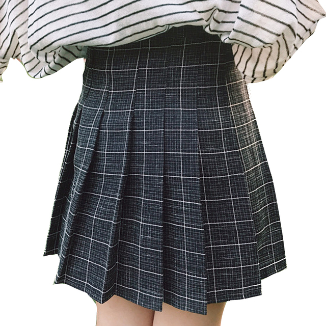 168db46931 2018 Autumn Winter Girls Pleated Half Skirts Schoolgirls Skirt Uniforms Cos  Harajuku Plaid Mini Plaid Skirt