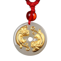 18K gold pendant A cargo brave HTJ256 Jade pendant + Free Necklace Fine jewelry hanging Free shipping