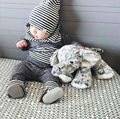 2pcs Cotton Autumn Baby Clothing Set Girl Outfit Printed Striped Newborn Boys Clothes Set Babes Toddler Long Shirt Pants