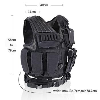 MGFLASHFORCE Adjustable Tactical Vest Molle Swat Army Military Combat Assault Body Armor Hunting Fishing Shooting Airsoft Vest 2