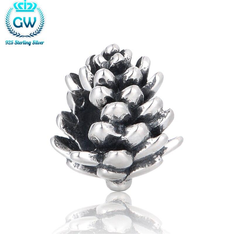 Argent 925 Pomme De Pin Charmes Convient Pan Bracelet Le Jour De Noël Charme Perles & Bricolage Fabrication de Bijoux Marque GW T095-25