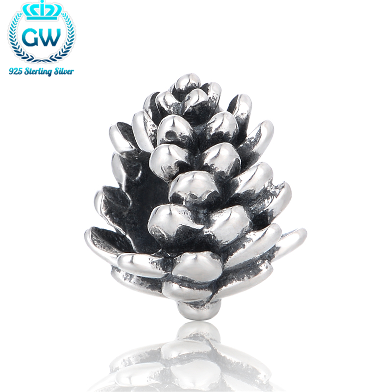 Silver 925 Pinecone Charms Fits Skull Bracelet On Christmas Day Charm Beads & Diy Jewelery Making Brand GW T095-25