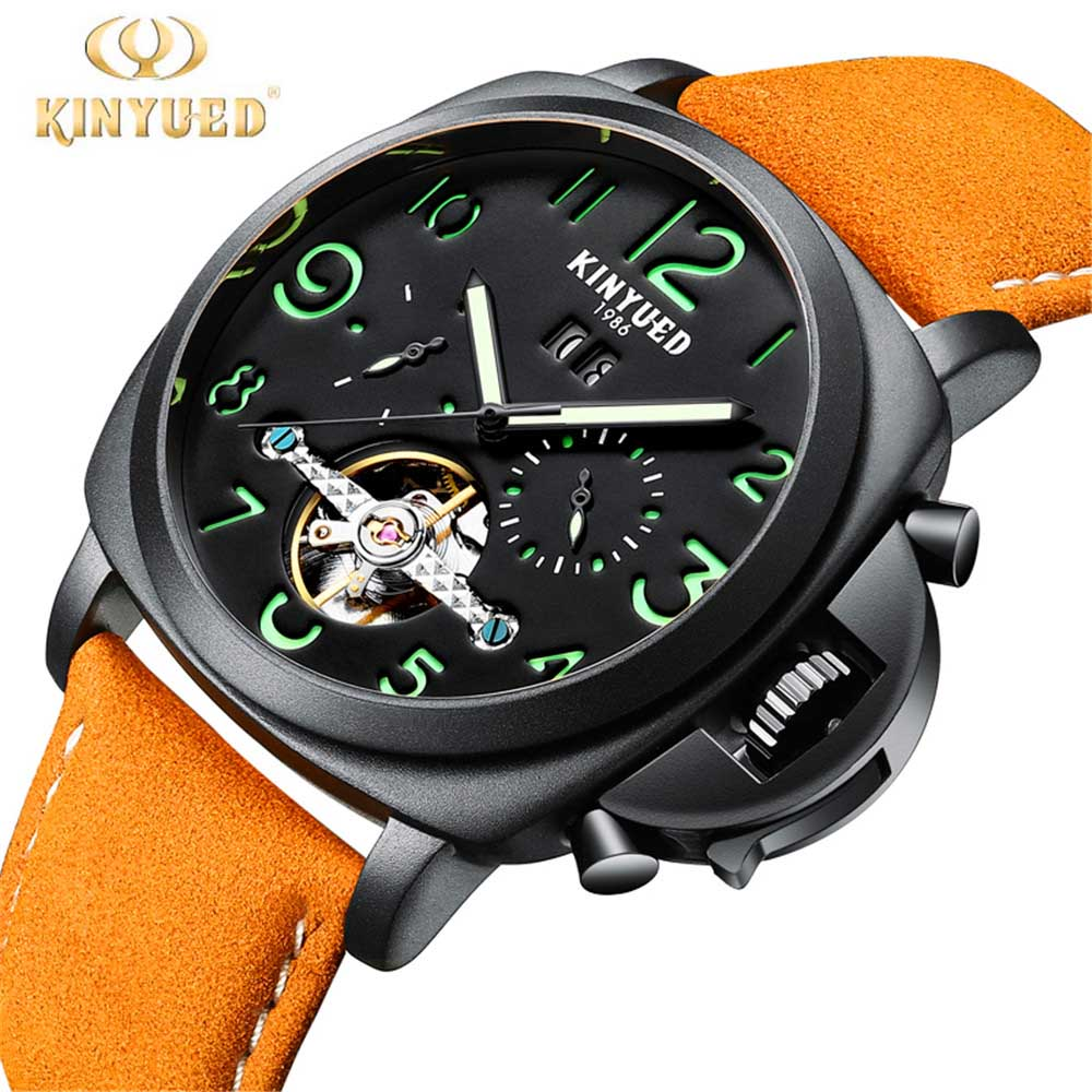 Mechanical Watches Skeleton Watch Automatic Men KINYUED Self-Wind Top Brand Luxury Leather Stainless Steel relogios masculino tevise men black stainless steel automatic mechanical watch luminous analog mens skeleton watches top brand luxury 9008g