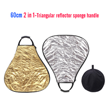 CY 60CM 2 in 1 silver & gold Portable triangle Studio Photo reflector Collapsible Photographic Lighting Reflector+ Carrying Bag