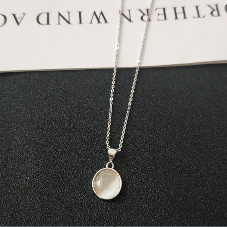 цена на New silver cat eye necklace cat eye pendant clavicle female short jewelry TN05