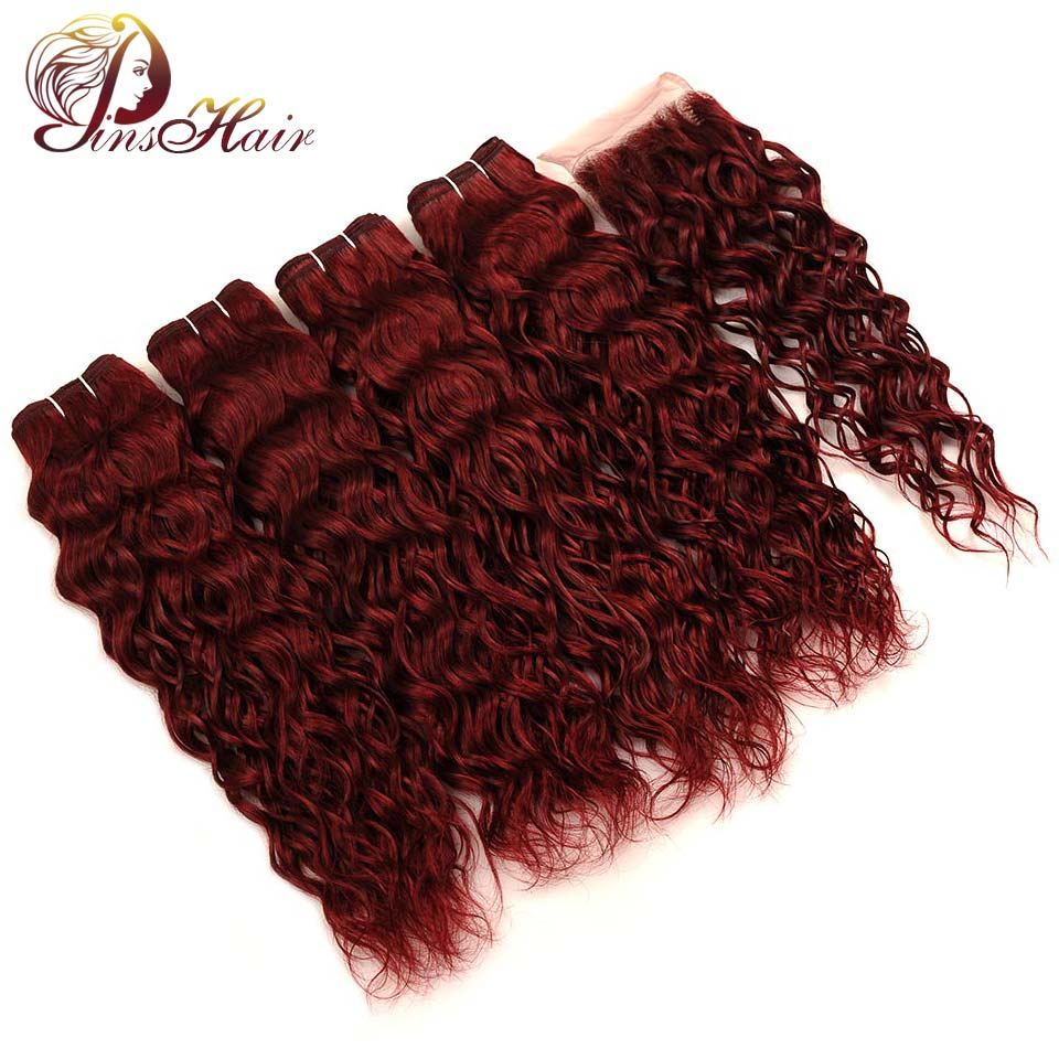 Pinshair Water Wave Brazilian Red Human Hair 4 Bundles With Closure Burgundy 99J Hair Bundles With Closure Non Remy Can Be Dyed