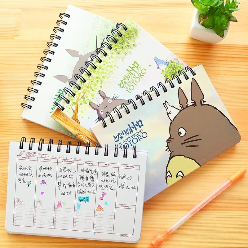 Cartoon Totoro Еженедельный план Спиральная тетрадь Повестка дня на неделю Расписание организатора планировщика Cuadernos office Школьные принадлежности 6821