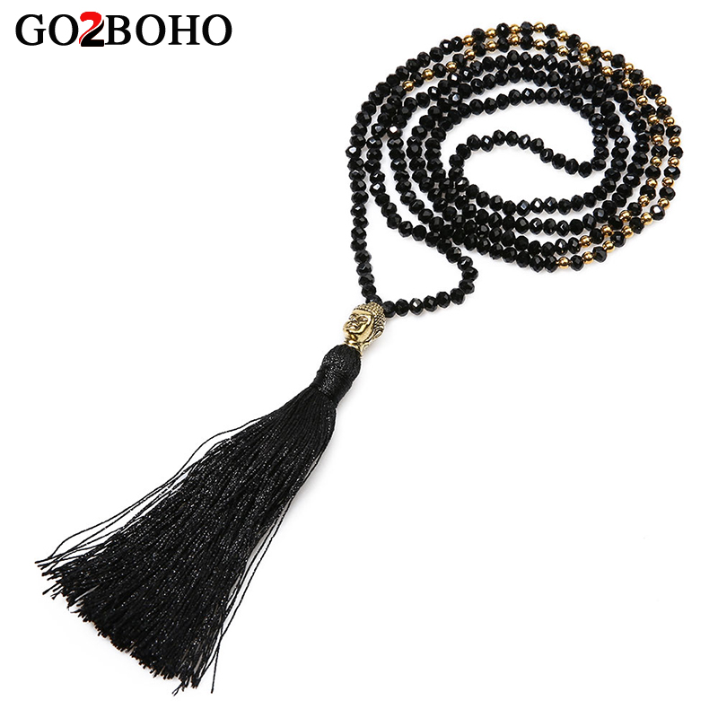 Go2boho Charm Long Tassel Necklaces Men Cut Crystal Beads Buddha Head Beaded Pendants Handmade Weave Beaded Jewelry Bijoux Gift