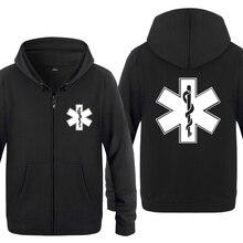EMT Emergency Medical Technician Hoodies ชาย 2018 ชายขนแกะซิป Cardigans Hooded Sweatshirts