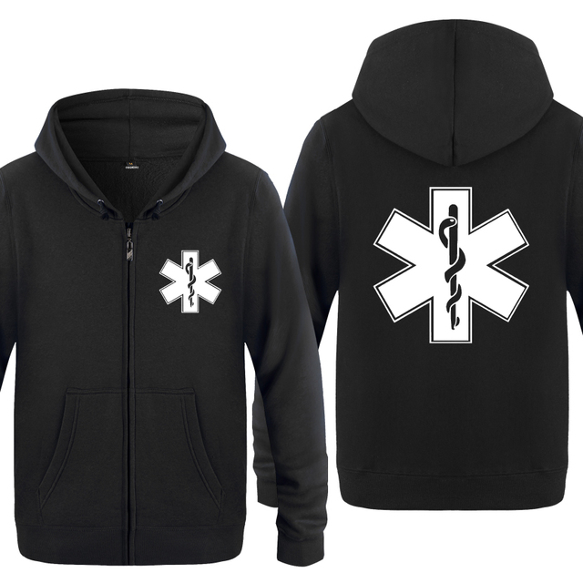 EMT Emergency Medical Technician Hoodies Men 2018 Mens Fleece Zipper Cardigans Hooded Sweatshirts