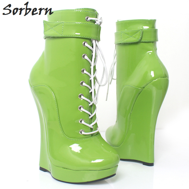Sorbern Green Designer Platform High Heel Boots Wedge Heeled Australia Classic Kim Kardashian 2018 Short Boots Pointed Lace Shoe kim kardashian s marriage