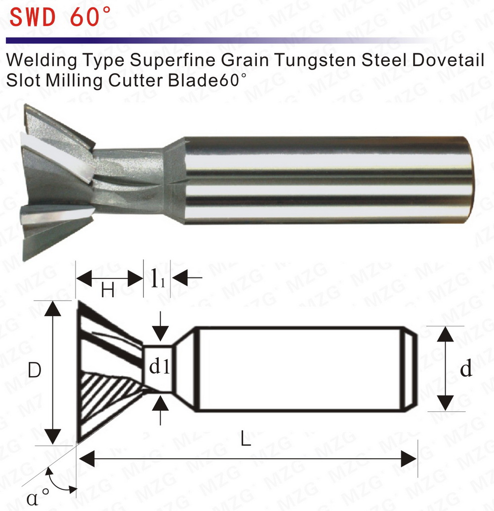 MZG Dovetail Milling Cutters 60 welding blade dovetail groove milling  machine of tungsten steel mold tooling guide processing