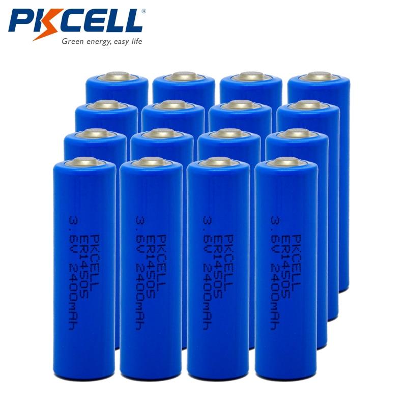 16pc PKCELL 3 6V ER14505 14505 2400mah AA LiSCLO2 Battery Superior LR6 R6P 1 5V Batteries