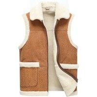 החורף החדש 2017, עור כבש טבעי צמר vest, מעיל עור מקרי זכר, זכר אפוד עור, משלוח חינם