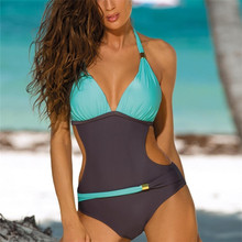 Sexy One Piece Swimsuit Women Swimwear Push Up Monokini Female One-Piece Suits Halter Padded Swim Trikini Plus Size Bathing Suit