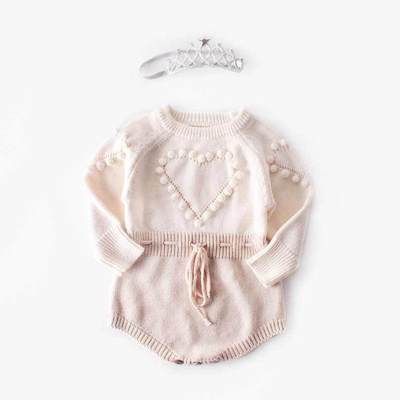 Knitted Baby   Romper   Autumn Newborn Baby Clothes Long Sleeve Pompom Infant Baby Girl Boy   Romper   Baby Jumpsuit Onesie Overalls