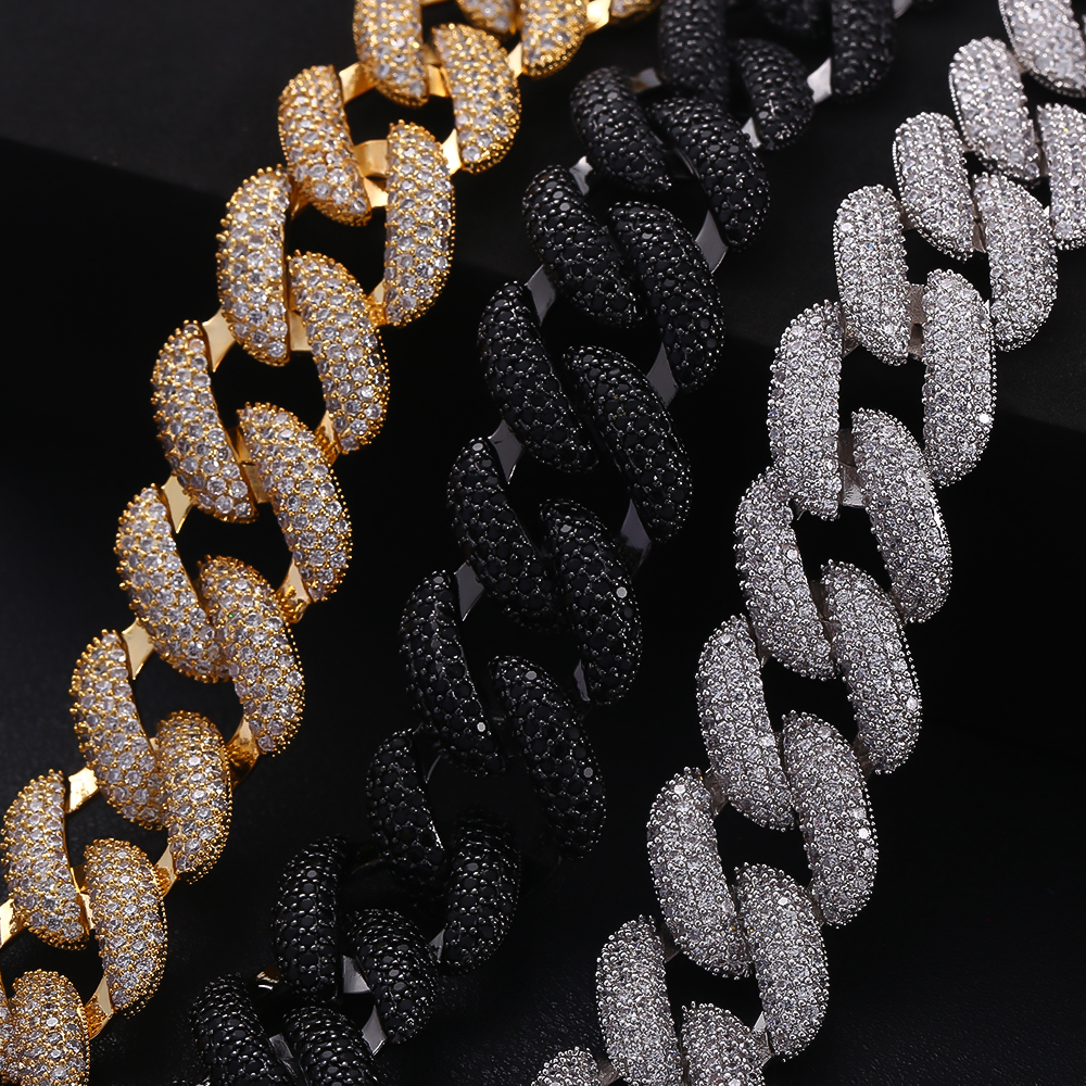 Image 2 - Accking Full  CZ Statement Cuban Link Chain Choker Necklace adjust for Man or Women Bijoux Wholesale free shipping-in Choker Necklaces from Jewelry & Accessories