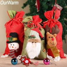 OurWarm 20x38cm Santa Claus Elk Christmas Gift Bags Socks Ornament New Year 2019 Tree Pouch Decoration for Home